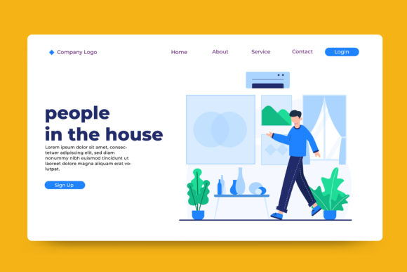 Landing Page People in the House Graphic Landing Page Templates By OKEVECTOR