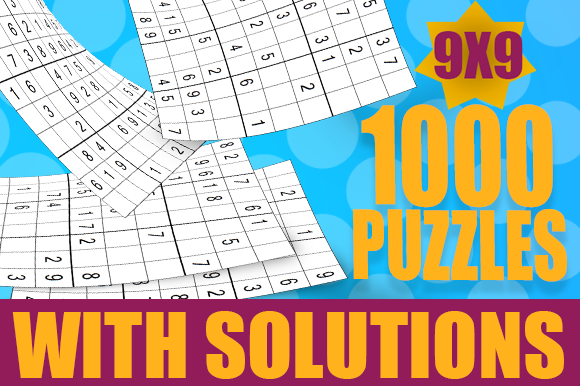 1000 Sudoku Puzzles with Solutions Graphic KDP Interiors By BOPIXEL