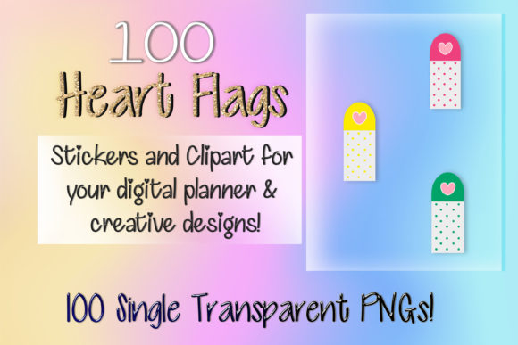 Print on Demand: 100 Heart Flags Clipart Digital Stickers Graphic Print Templates By AM Digital Designs