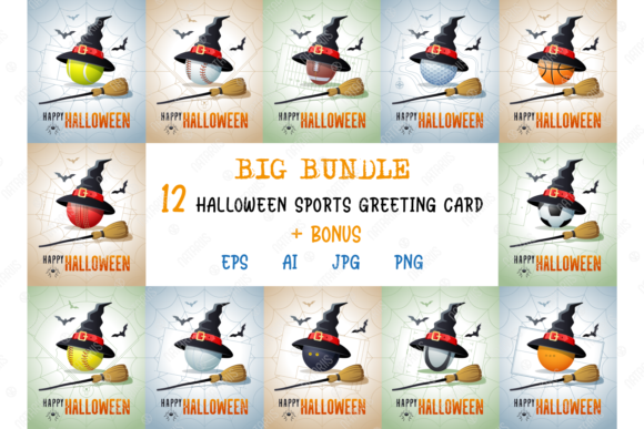 12 Halloween Sports Greeting Cards  Graphic Illustrations By Natariis Studio