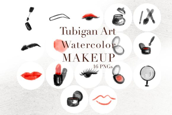 Print on Demand: 16 Watercolor Makeup Instagram Stories Graphic Icons By Tubiganart