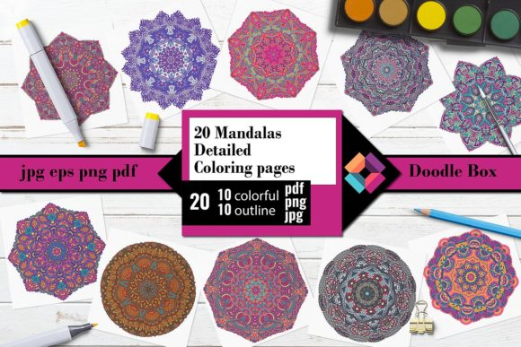 20 Mandalas Detailed Coloring Pages Graphic Coloring Pages & Books Adults By DoodleBox