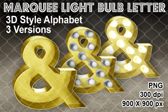 """3D Metallic Gold 3 Styles """"&"""" Letter Graphic Crafts By V-Design Creator"""