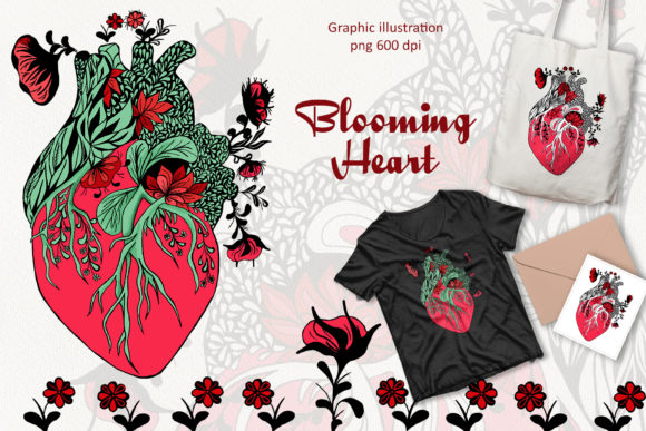 Anatomical Blooming Heart   Graphic Illustrations By BarvArt