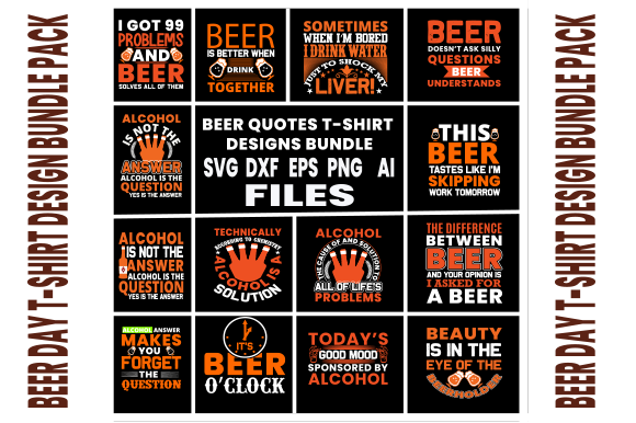 Beer Quotes T-Shirt Design Bundle Pack Graphic Print Templates By Graphics Cafe