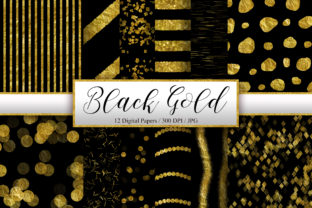 Print on Demand: Black Gold Glitter Digital Papers Graphic Backgrounds By PinkPearly