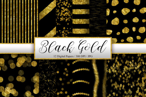 Black Gold Glitter Digital Papers Graphic Backgrounds By PinkPearly