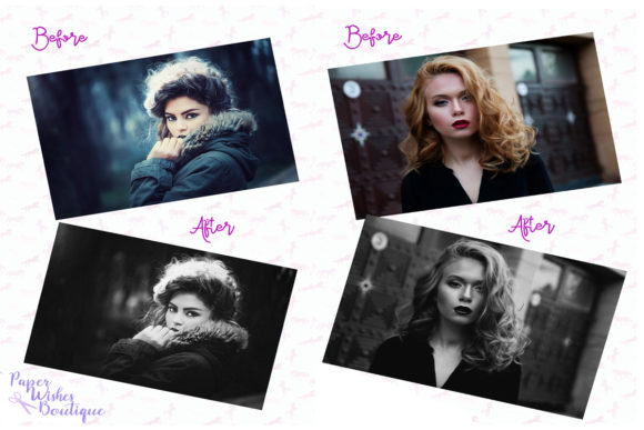 Print on Demand: Black and White Photoshop Action Graphic Actions & Presets By PaperWishesBoutique
