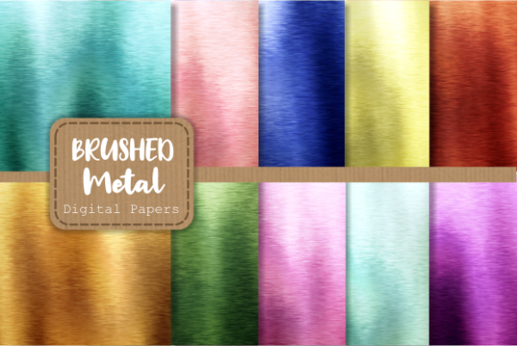 Print on Demand: Brushed Metallic Rainbow Digital Papers Grafik Texturen von Prawny