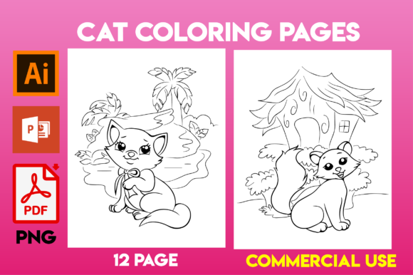 Cat Coloring Page for Kids Gráfico Libros para colorear - Niños Por MK DESIGNS