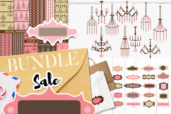 Print on Demand: Chandeliers and Frames Bundle Graphic Illustrations By Revidevi