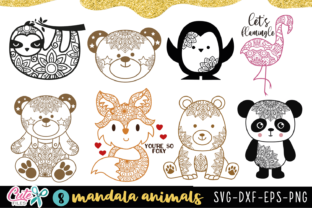 Cute Animals with Mandala Bundle Graphic Illustrations By Cute files