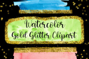 Print on Demand: Gold Glitter Watercolor Clip Art Graphic Backgrounds By PinkPearly
