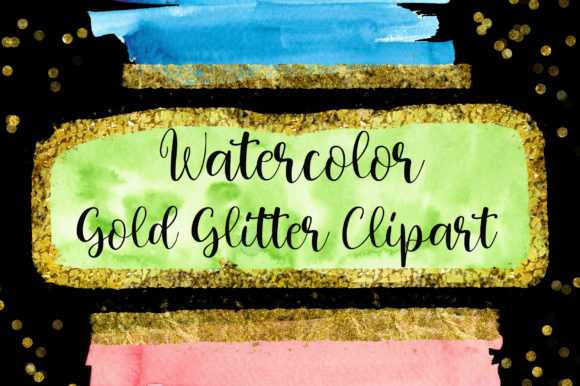 Gold Glitter Watercolor Clip Art Graphic Backgrounds By PinkPearly