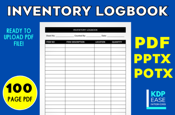 Print on Demand: Inventory Log Sheet/Logbook Upload Ready Graphic KDP Interiors By KDP EASE