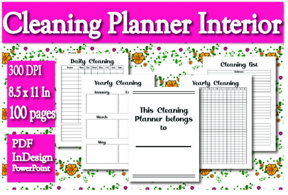 Print on Demand: KDP Interior Cleaning Planner Graphic KDP Interiors By Ivana Prue