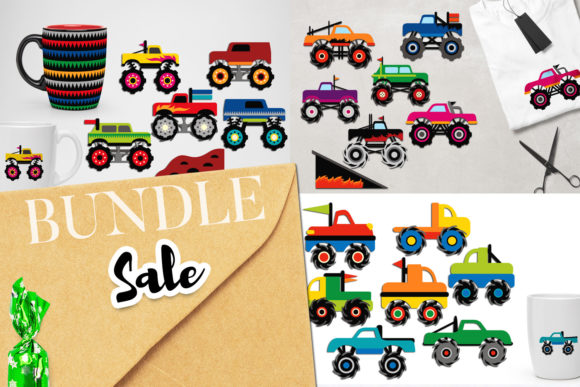Print on Demand: Monster Trucks Bundle Graphic Illustrations By Revidevi