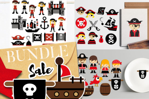 Print on Demand: Pirate Illustrations Bundle Gráfico Ilustraciones Por Revidevi