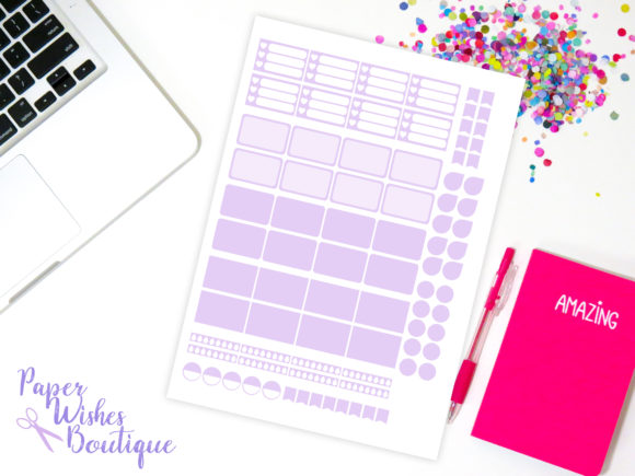 Print on Demand: Planner Sticker Template 2 Graphic Print Templates By PaperWishesBoutique
