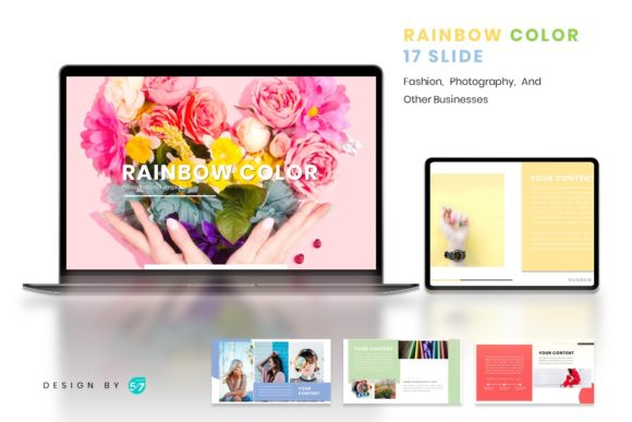 Powerpoint Template - Rainbow Color Graphic Presentation Templates By maju57creative