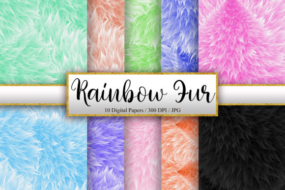 Rainbow Fur Background Digital Papers Graphic Backgrounds By PinkPearly