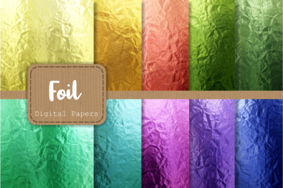 Print on Demand: Rainbow Metal Foil Luxury Digital Papers Gráfico Texturas Por Prawny