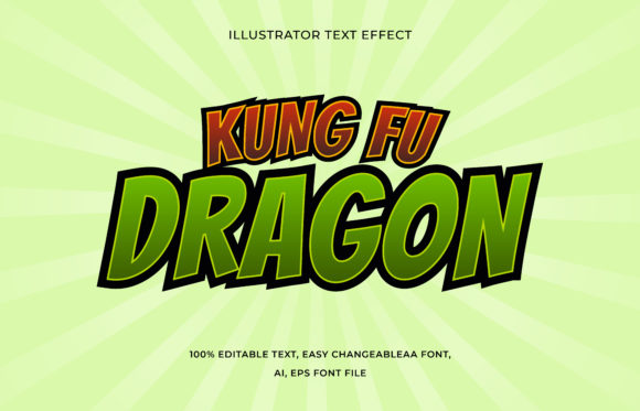 Text Effect Editable - Kung Fu Dragon Graphic Add-ons By aalfndi