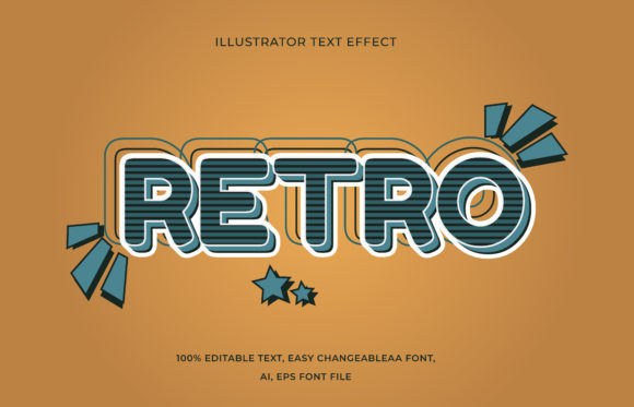Text Effect Editable - Retro Graphic Add-ons By aalfndi