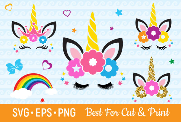 Unicorn Eyelashes Horn Birthday GIrl Graphic