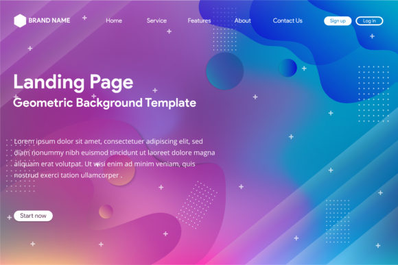 Print on Demand: Blue Pink Landing Page Background Liquid Graphic Landing Page Templates By noory.shopper