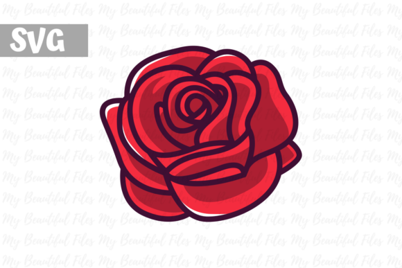 Print on Demand: Rose Flower Gráfico Iconos Por MyBeautifulFiles