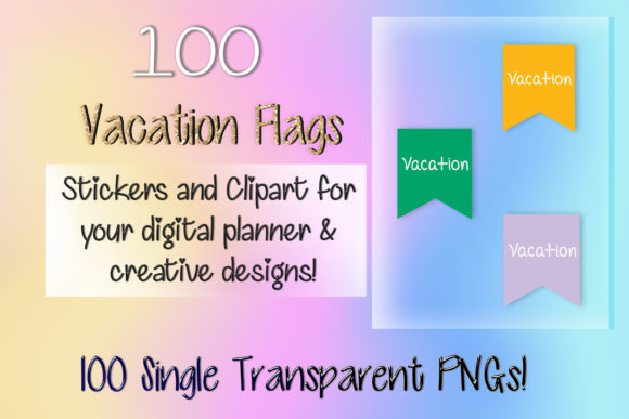 Print on Demand: 100 Vacation Flag Digital Stickers Graphic Print Templates By AM Digital Designs