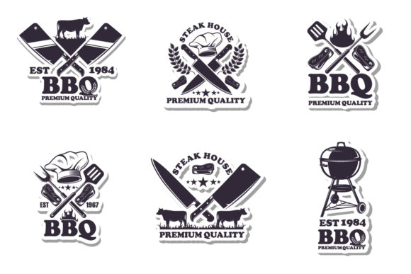 Print on Demand: A Set of Emblems of BBQ. Graphic Icons By roman24one