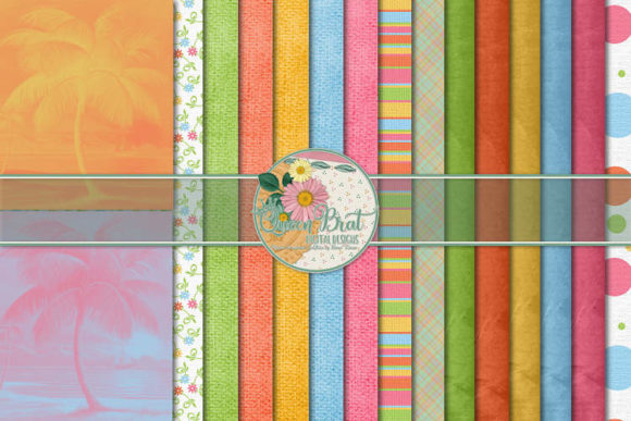 Print on Demand: Almost Paradise Tropical Papers Graphic Backgrounds By QueenBrat Digital Designs