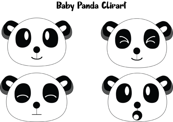 Print on Demand: Baby Panda Vector Graphic Icons By Tigade std
