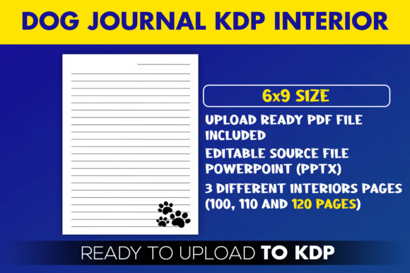 Print on Demand: Dog Journal Editable KDP Interior Graphic KDP Interiors By Beast Designer