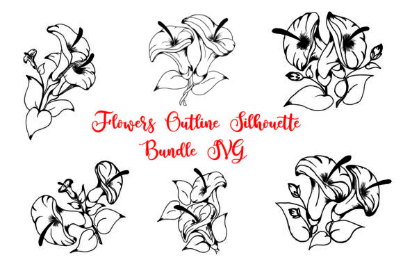 Print on Demand: Flowers Outline Silhouette Bundle   Graphic Crafts By Girinesia