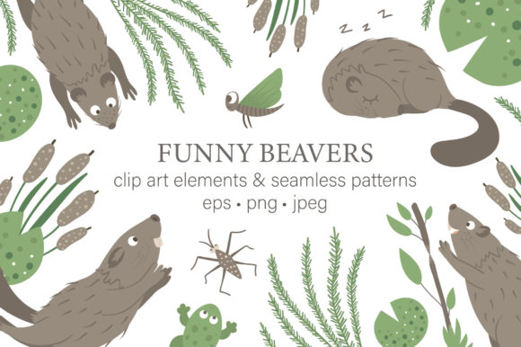 Funny Beavers Graphic Illustrations By lexiclaus