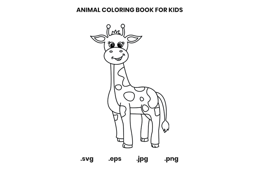 Giraffe Coloring Book Page For Kids (Graphic) By Doridodesign · Creative  Fabrica