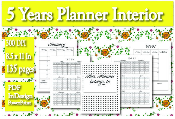 Print on Demand: KDP 5 Years Planner Interior Graphic KDP Interiors By Ivana Prue - Image 1