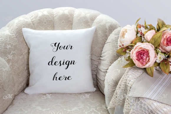Pillow on a Chair Mockup Graphic Product Mockups By MaddyZ - Image 1