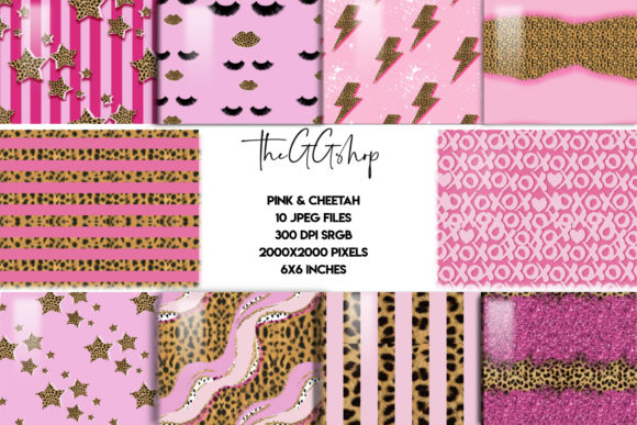 Print on Demand: Pink & Cheetah Seamless Patterns Gráfico Moldes Por TheGGShop