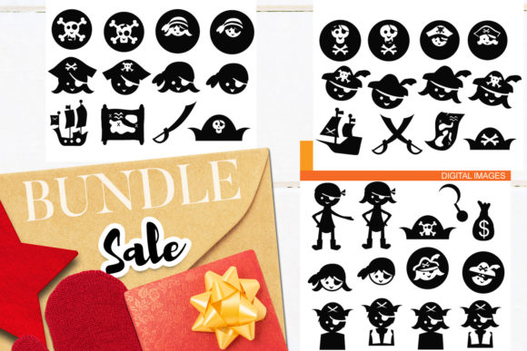 Print on Demand: Pirate Black Shadow Bundle Graphic Illustrations By Revidevi