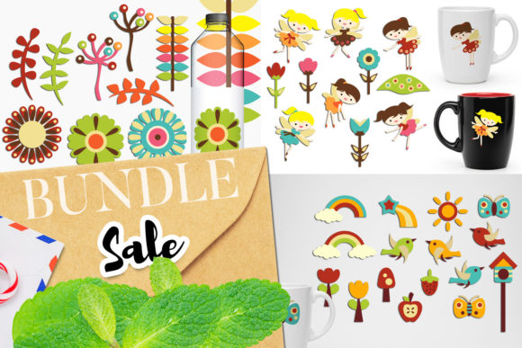 Print on Demand: Retro Flower Garden Bundle Graphic Illustrations By Revidevi
