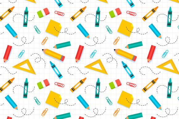 Print on Demand: School Stationery Pattern Background Graphic Patterns By Miss Chatz