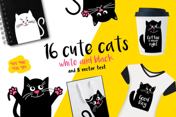 Set Black and White Cats Vector  Graphic Print Templates By Koni