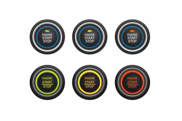 Print on Demand: Start Stop Engine Push Button Car Icon Graphic Objects By aryo.hadi