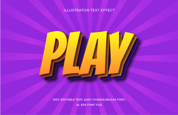 Text Effect Editable - Play Graphic Add-ons By aalfndi