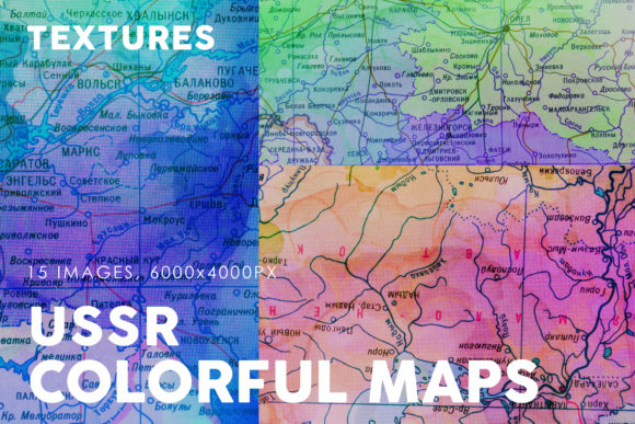 Print on Demand: USSR Colorful Map Textures Graphic Textures By ArtistMef