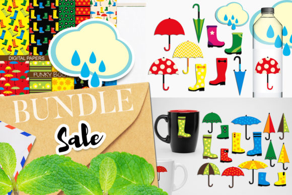 Print on Demand: Umbrella and Boots Bundle Graphic Illustrations By Revidevi